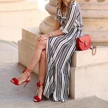Maxi Striped Shirt Dress Sexy Elegant Design Slipt Evening Party