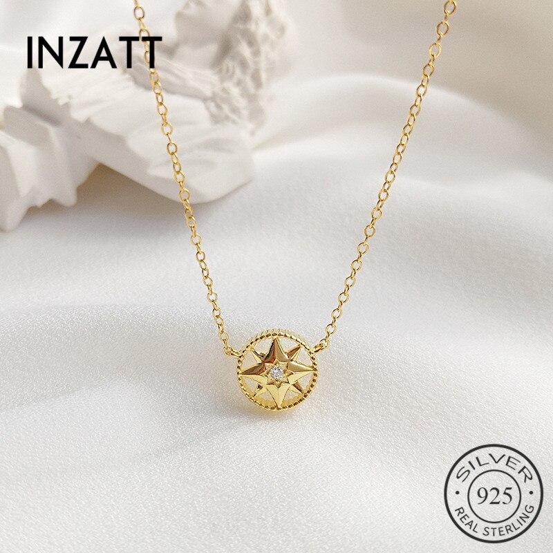 INZATT Echt 925 Sterling Silber Runde Hexagramm Zirkon Kristall Stern Pendent Halskette Für 2019 Mode Frauen Gothic Schmuck Geschenk