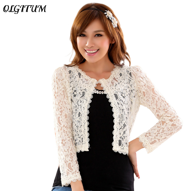 OLGITUMHot sale!2018 New fashion Ladies All-match Hollow Out Short Lace Jacket Women High Waist Tops Cardigan Clothing Plus Size