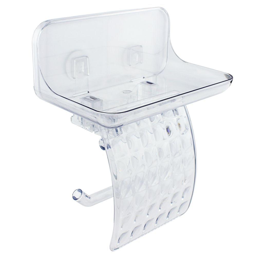 Tissue Holder with Phone Shelf, Toilet Paper Holder with Shelf Toilet Roll Bath Paper Roll Holder Shelf for Wet Wipe Home Comm