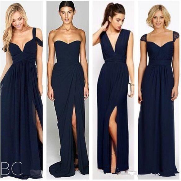 New Fashion Dark Navy Blue Chiffon Beach Bridesmaid Dresses with Split  Different Style Junior Bridesmaids Dress Custom BD043-in Bridesmaid Dresses  from ... 0d9a6244b4fd