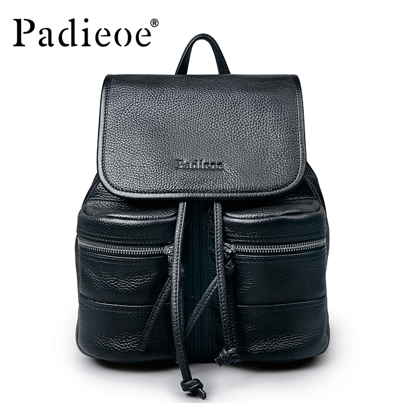 Padieoe Luxury Brand Women <font><b>Genuine</b></font> <font><b>Leather</b></font> <font><b>Backpack</b></font> Female <font><b>Backpack</b></font> Korean <font><b>Backpack</b></font> Travel Bag <font><b>Unisex</b></font> Bagpack School <font><b>Backpack</b></font> image