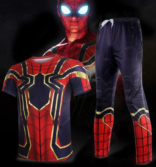 45f5e25d4 2018 do Filme Avengers 3 Infinito Guerra Ferro Aranha Spider-Man Cosplay  Camisetas Calças Curtas