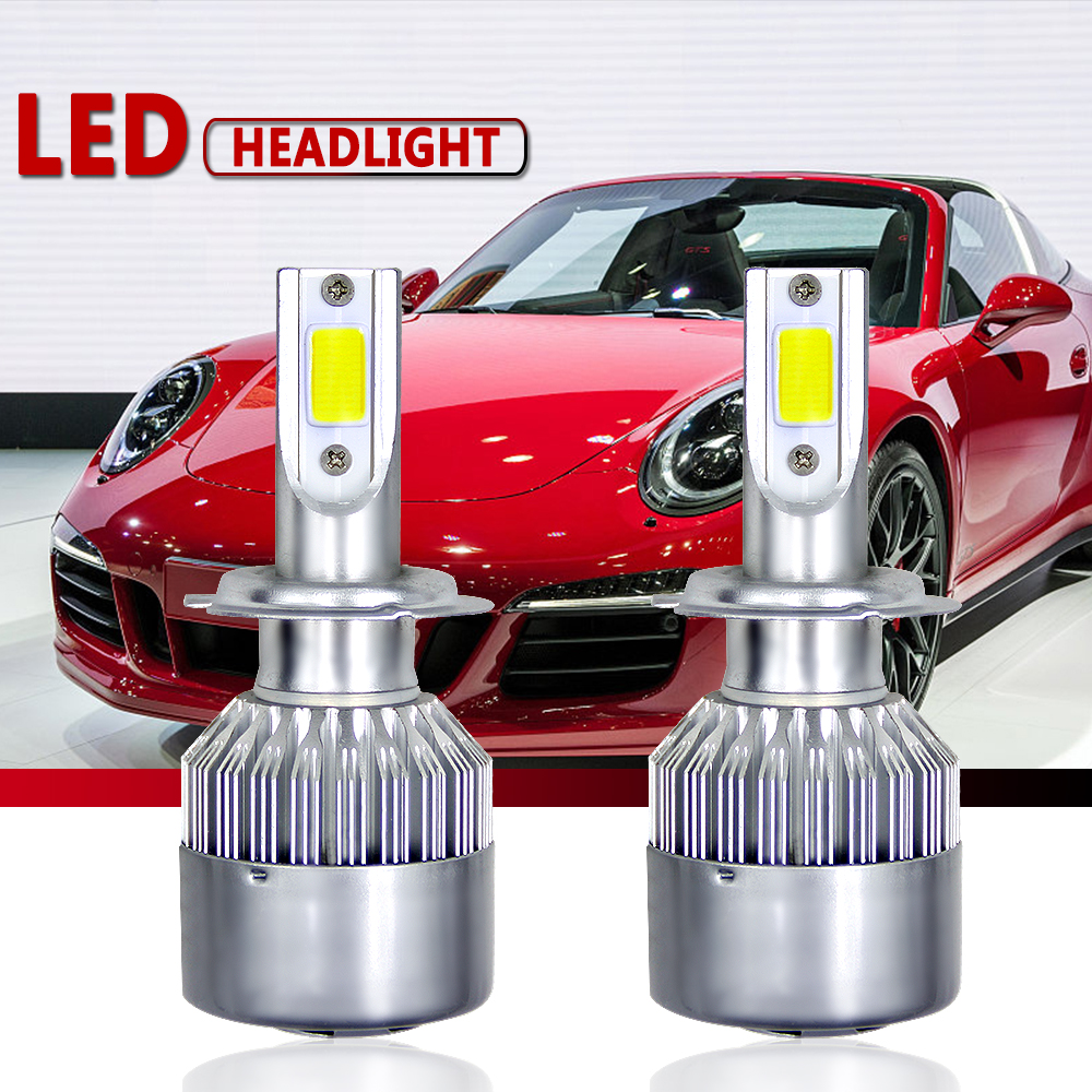 CROSSLEOPARD 12000LM Pair LED Headlight Bulbs 60W Auto Lights Car H7 LED H1 H3 H27 H11