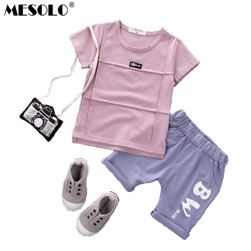 MESOLO Children Short Sleeve Suit 2019 Summer Korean Boys 1-2-3-4 year Old Female Baby T shirt Shorts Two sets