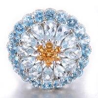 Hutang 5.54ct Подлинная Аквамарин & Голубой топаз Твердые 925 серебро кластера кольца камень роскошные Ювелирные украшения для Для женщин