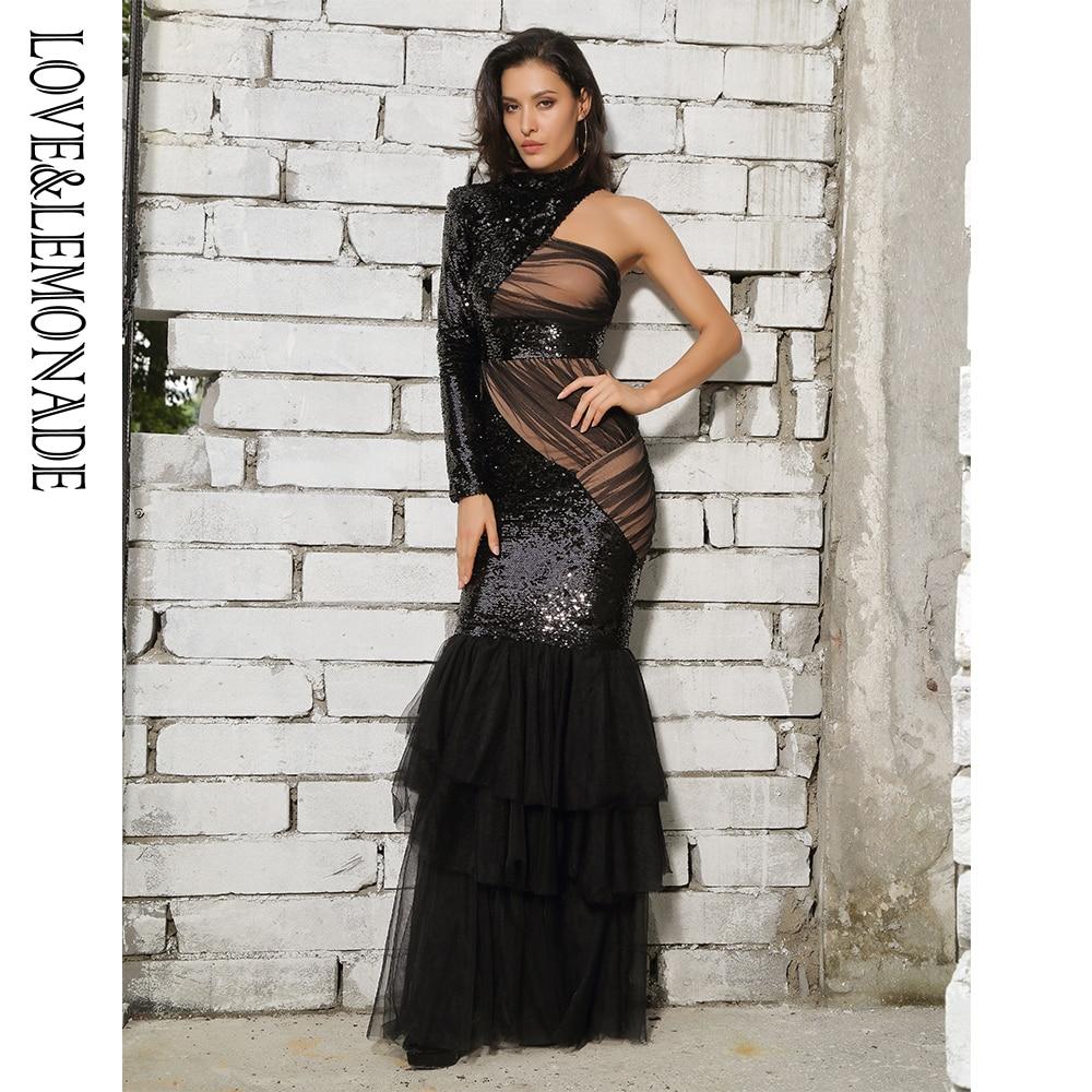 Love&Lemonade Black Mesh Sequins Long Dress LM81485