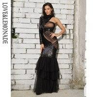 Love&Lemonade Black Cut Out Mesh Stitching Fishtail Shape Sequins Long Dress LM81484