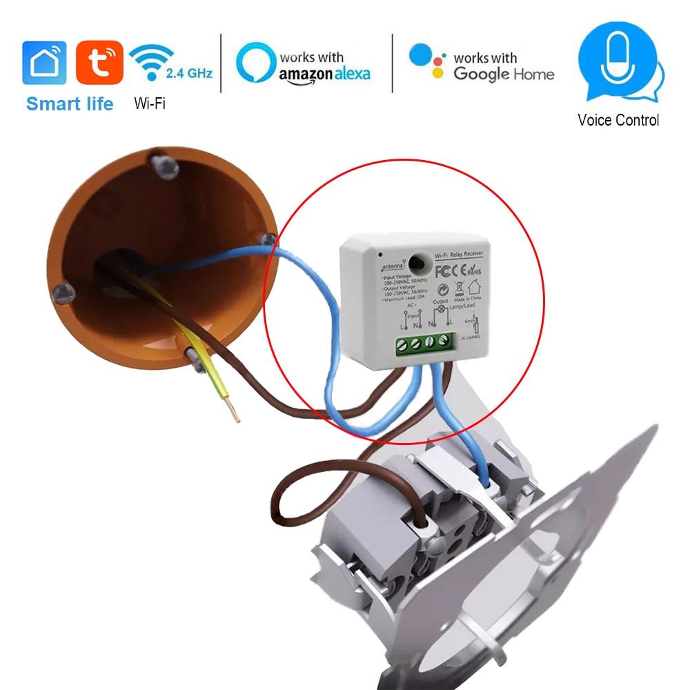 Commutateur intelligent Wifi module Mini prise contrôleur 110V 240V 2500W minuterie commutateur commande vocale prise en charge Alexa Google IFTTT vie intelligente