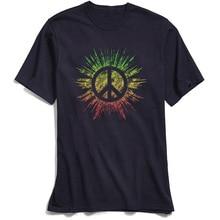 цены на Vintage Men T Shirt Rasta Peace Sign Top T-shirts Faddish Short Sleeve Print Pure Cotton O Neck Adult Tee Shirts Leisure TShirt  в интернет-магазинах