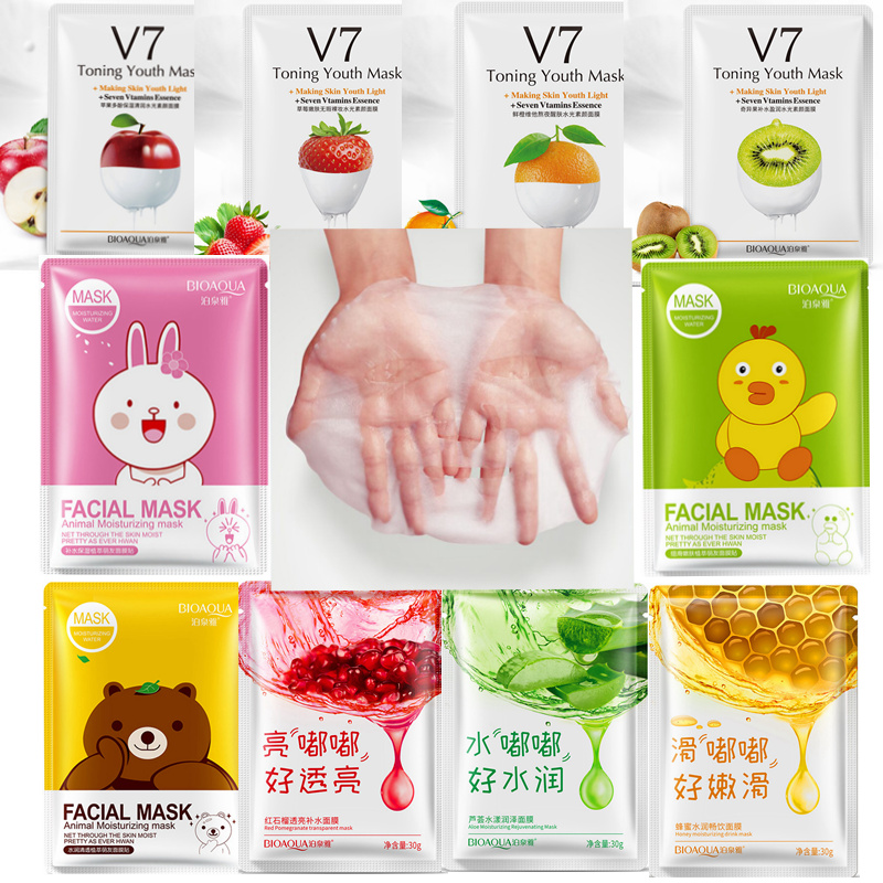 BIOAQUA Red Pomegranate Mask Fruits Animals Mascara Facial Mask Treatment  Sheet Masks Korean Cosmetics Acne Tony Moly Skin Care