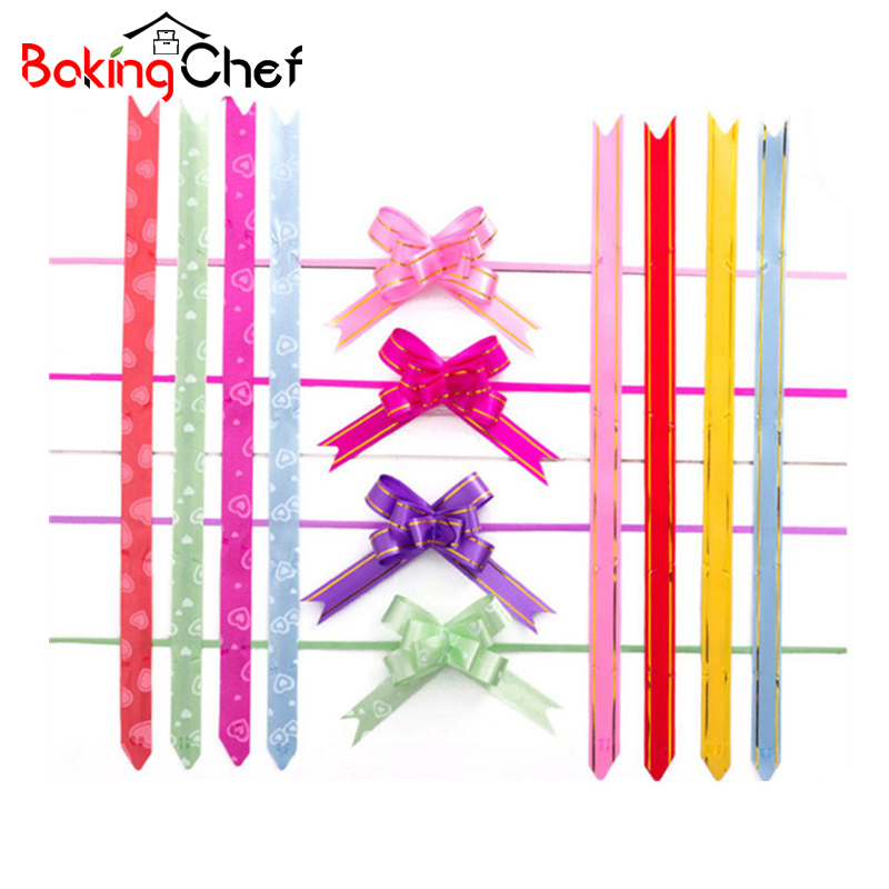 BAKINGCHEF 50pcs/lot 18mm Gift Ribbon birthday/wedding/home Festive Party decoration Packing Pull Bow Ribbon Flower Accessories