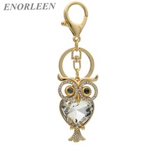 ENORLEEN Brand Luxurious big rhinestone owl key chain gold-color zinc alloy noble elegant beautiful car pendant sweater chains