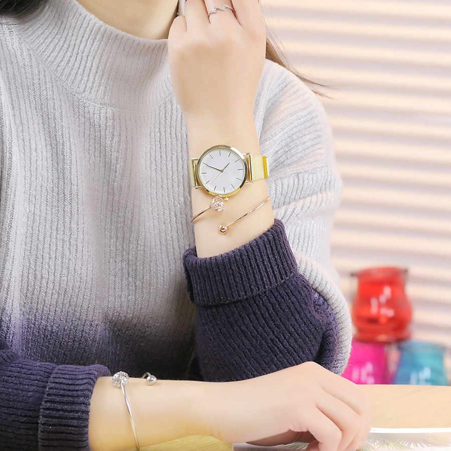 Vansvar Sliver Malha de Aço Inoxidável de Ouro Relógios de Pulso Das Mulheres Top Marca de Luxo Relógio Ocasional Senhoras Relógio Relogio feminino Presente A3
