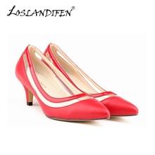 LOSLANDIFEN New Matte Shoe Women Pointed Toe Red Bottom Low Heel Pump Lady Single Ol Work Career Spring Fall Shoes 678-2MA
