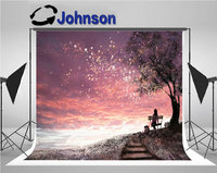 Sky Stars Girl Bench Under Tree Sunset Cute Floral Meadow Stairs backdrops Vinyl cloth Computer print wall background