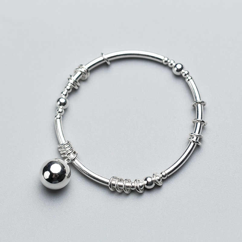 925 sterling silver big silver bead bangles handmade DIY silver circle elastic rope inside adjustable bangles for women jewelry