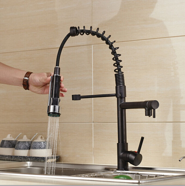 Luxury Deck Mount Brass Pull Down Dual Spout Kitchen Faucet Single Handle Oil Rubbed Bronze with Hot and Cold Hose deck mount two spout spring kitchen sink faucet led light hot and cold brass kitchen mixer taps oil rubbed bronze