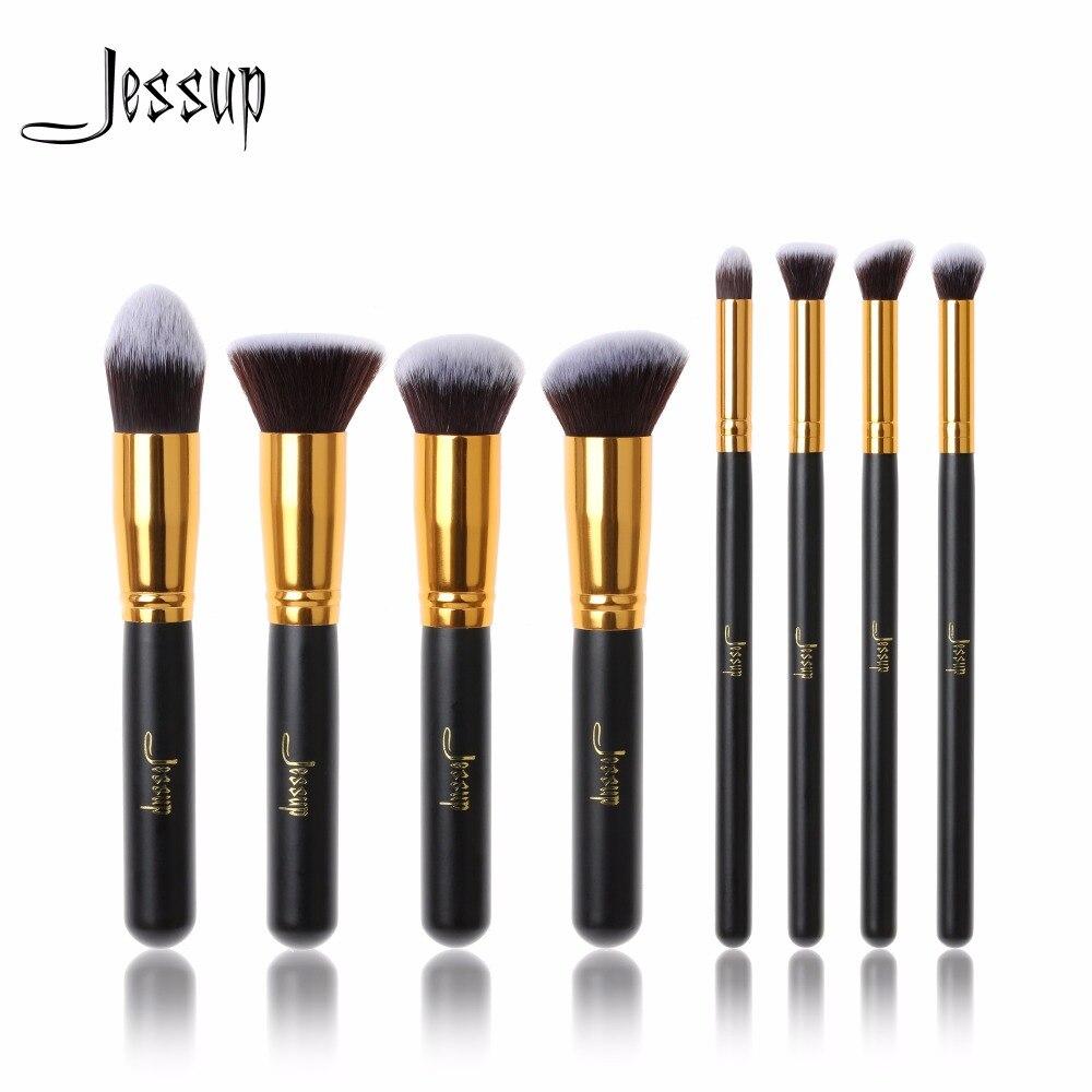 Jessup 8pcs Black/Gold Foundation blush Liquid  Kabuki brush Makeup Brushes Tools set Beauty Cosmetics kit T052 professional 10pcs black gold jessup brand makeup brushes set beauty foundation kabuki brush cosmetics make up brushes kit tools
