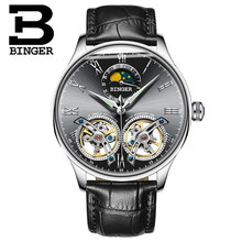 Binger new males computerized mechanical watch is the tourbillon dial black leather-based style sports activities watches relogio masculino relojes