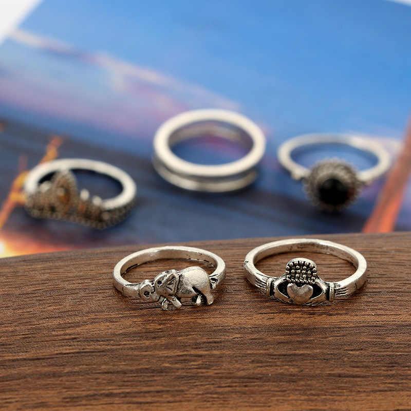วินเทจโบฮีเมียนMidi K Nuckleแหวนสำหรับผู้หญิงAnelสีดำคริสตัลทิเบตตุรกีเงินช้างK Nuckleแหวนของขวัญ