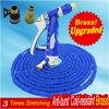 Upgraded Blue Magic Manguera Extensible 3 Times Garden Hose Watering Manguera Brass Water Gun 50ft Garden