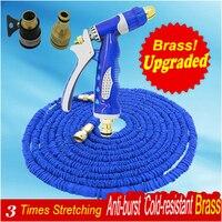 Upgraded Blue Magic manguera Extensible 3 times Garden Hose Watering manguera Brass Water gun 50ft Garden Tools Brass Spray Gun