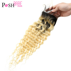 POSH BABE Two Tone Dark Roots 1B 613 Deep Wave Closure Brazilian Remy Ombre Blonde 8 - 22 inch 4x4 Lace Closure Free Shipping(China)