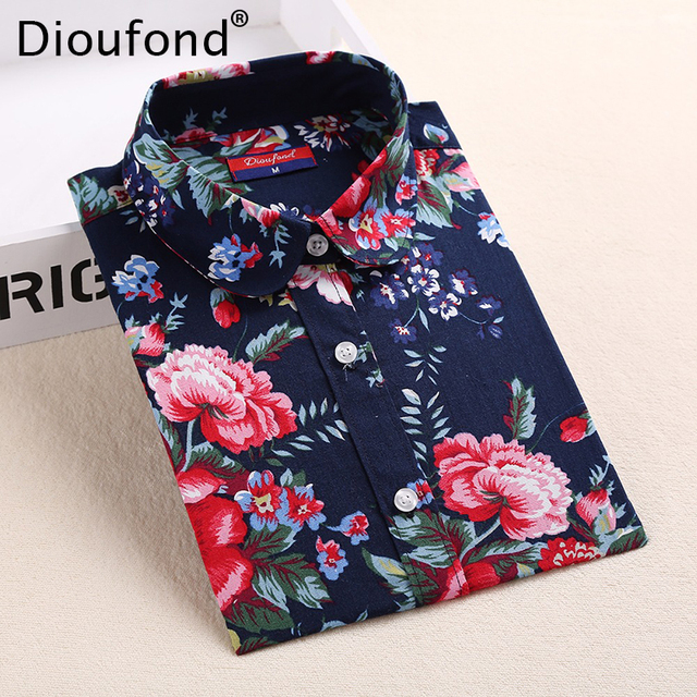 Dioufond Floral Shirts Women Blouses Blouse Cotton Blusa Feminina Long Sleeve Shirt Women Tops And Blouses 2016 New Fashion 5XL