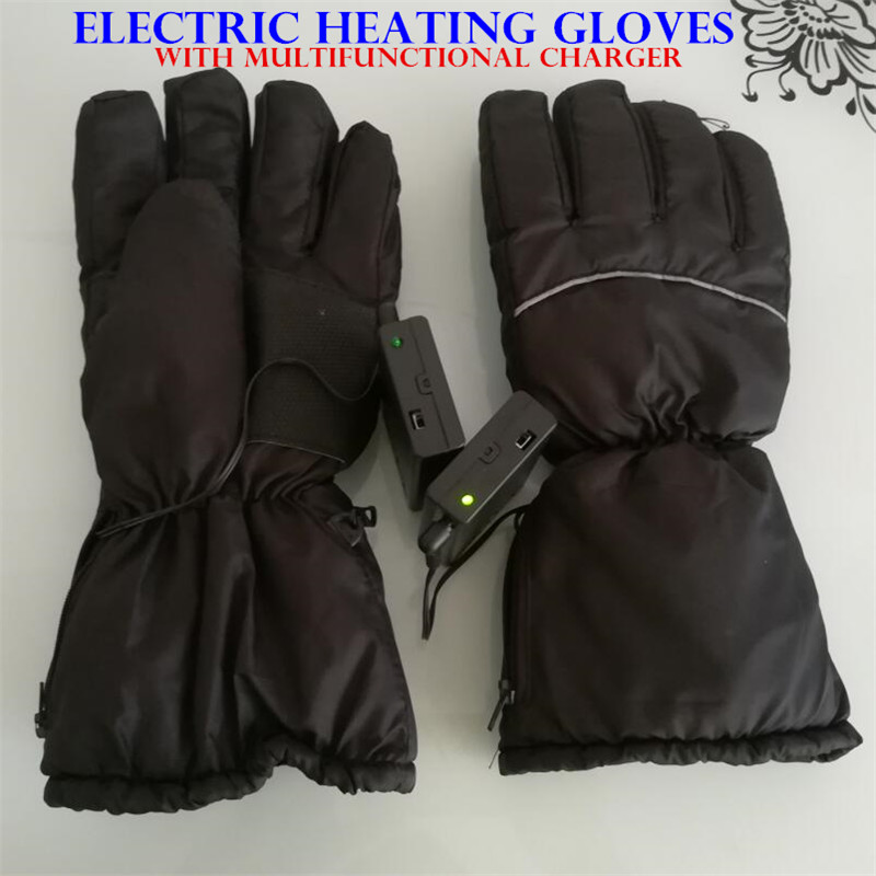 50p Smart Electric Heated Gloves,Ski Waterproof AA Rechargeable Battery Self Heating,4 Fingers&Hand Back Heated Windproof Gloves