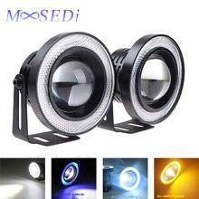 MOOSEDi 2PCS Waterproof Projector LED Fog Light Halo Angel Eyes 64mm 76mm 89mm Daytime Running