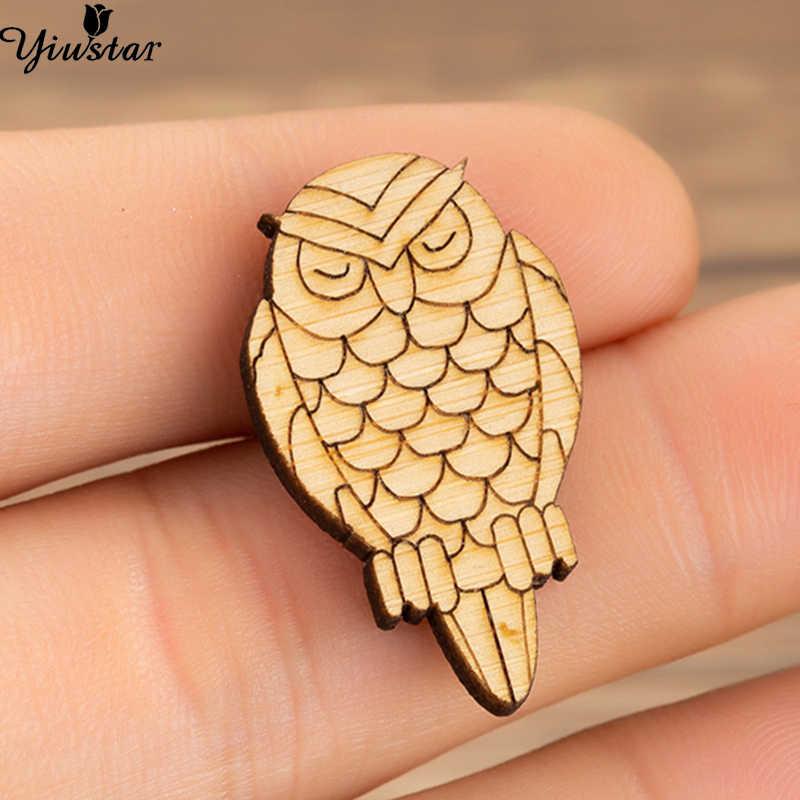 Yiustar Baru Fashion Wanita Burung Bros Pin Owle Pin Up Desainer Kayu Hewan Bros Retro Kreatif Semua Orang Perhiasan