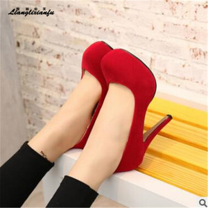 Image 2 - LLXF Fashion women Flock shoes Nightclub Stage performance 14cm Thin High heeled Shoes Ladies Party Wedding zapatos mujer pumps