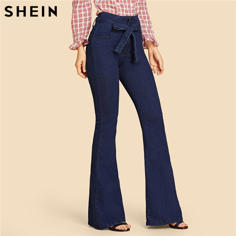 SHEIN Navy High Waist Vintage Long Flare Leg Belted Jeans Women Tie Waist Zipper Fly Retro Stretchy Black Denim Pants 4 Colors 1