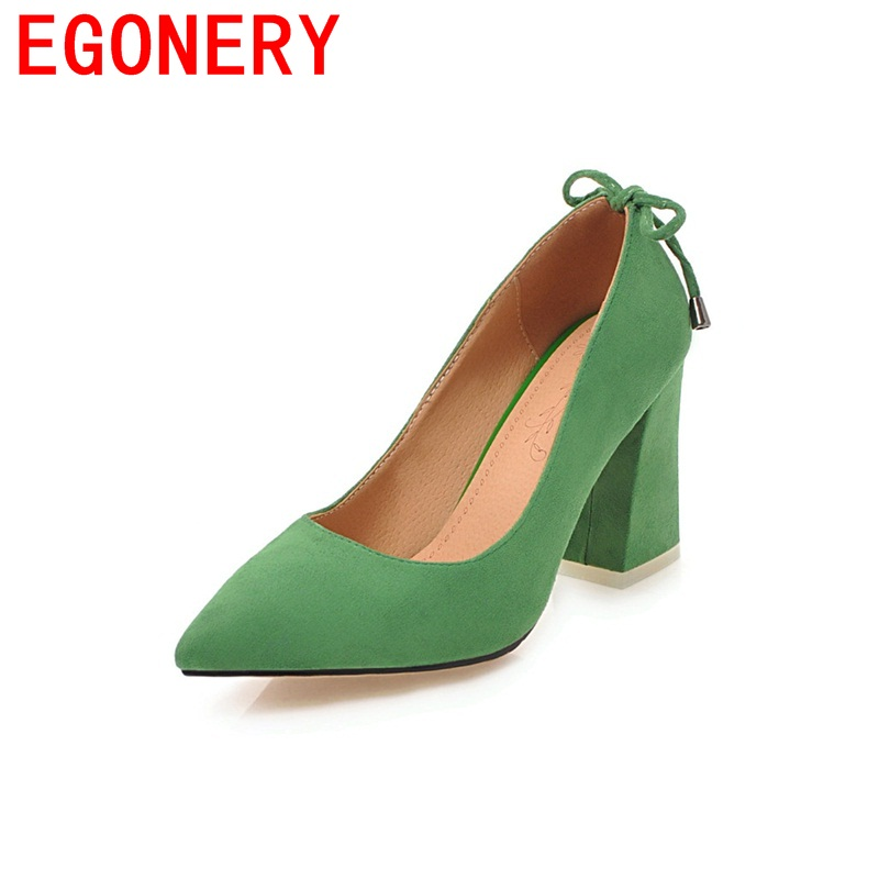 EGONERY big size queen style on formal occasions convenient woman shoes pointed toe dew instep skid resistance single pumps