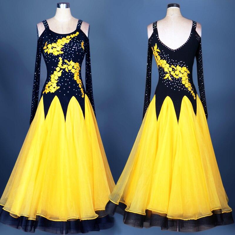 Robe de danse de salon femmes dame robes de compétition valse lait soie dentelle col en V Flamenco danse de salon pratique porter