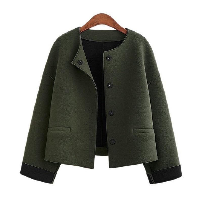 Лидер продаж женские куртки осень 2017 г. зимняя верхняя одежда модное шерстяное О-образным вырезом свободные Куртки Однобортный женской оде...