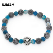 Vintage Elastic Mala Bead Bracelet Jewelry Wholesale 8mm Grey Veined Picture Stone Lion Head Charm Bracelet For Men Women Gift(China)