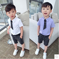 2016 Fashion Baby Boy summer Clothing Set kids Clothes set Gentleman Suit Boys short Sleeve T-shirt + Pants childrenClothing Set