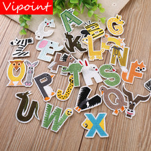 VIPOINT embroidery alphabet cartoon patches letter animal badges applique for clothing YX-246