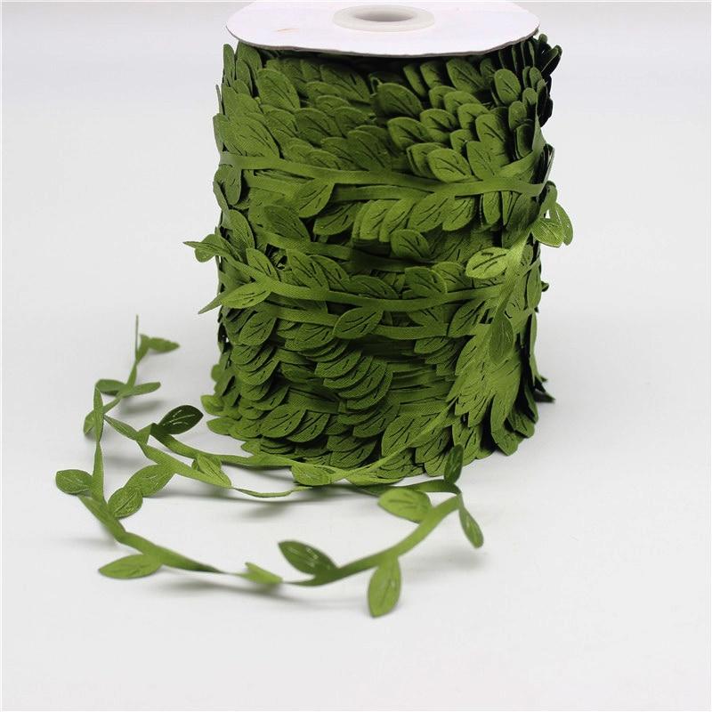10 Meter Silk-Shaped Handmake Sztuczne Zielone Liście na Dekoracje - Materiały świąteczne - Zdjęcie 3