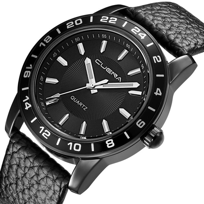 купить CUENA Men Quartz Watch Genuine Leather Fashion Casual Wristwatches Male Clock 30M Waterproof Relogio Masculino Mens Watches 6603 по цене 654.65 рублей