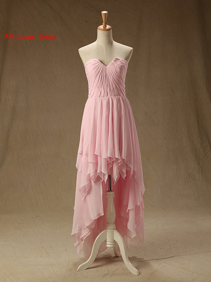 Pink   Cocktail     Dress   Party Gowns Short Prom   Dresses   Chiffon High Front Low Back