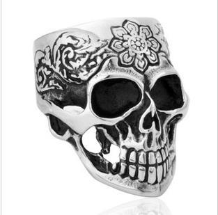 new arrival titanium man skull wedding rings nepal tibet kapala skull carve patterns rings for men - Skull Wedding Rings For Men