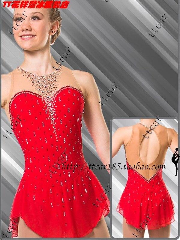klänning till konståkning röd skridskoåkning klänning vackra röda kläder för konståkning skridskoåkning klänningar gratis frakt