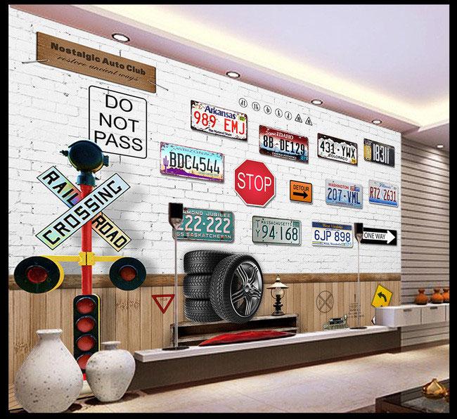 Nostalgia car <font><b>license</b></font> <font><b>plate</b></font> large mural 3D wallpaper TV backdrop living room bedroom 3D wallpaper Videos TV stereo 3D wallpaper