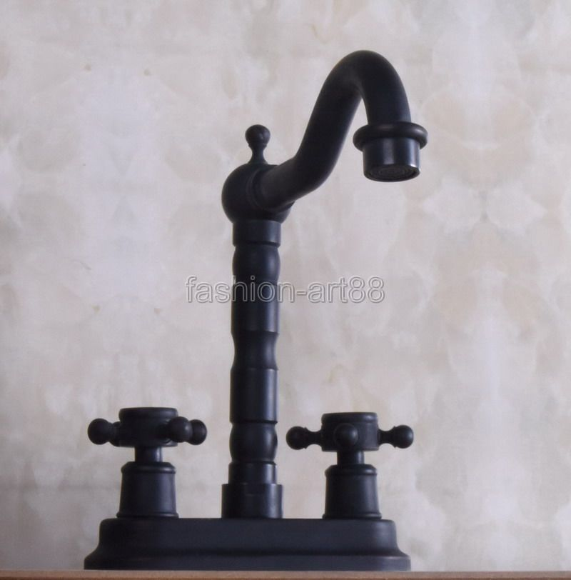 ФОТО Dual Cross Handles Black Oil Rubbed Bronze Swivel Spout Kitchen Bar Sink Bathroom Two Holes Basin Faucet Mixer Tap anf240