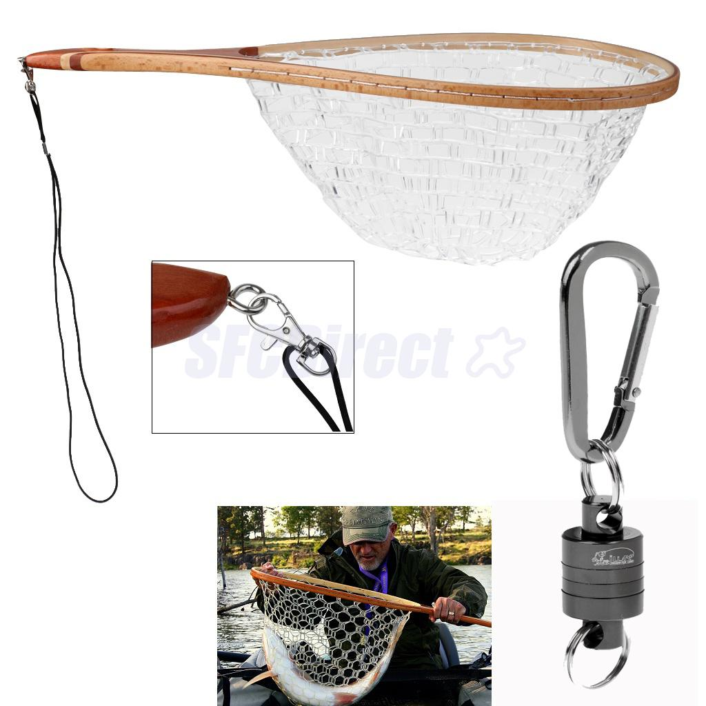 Net Keeper Pull Force Magnet Release System Gray + Wooden Handle Rubber Mesh Net Fishing Landing Net Fly Fishing Accessories Kit