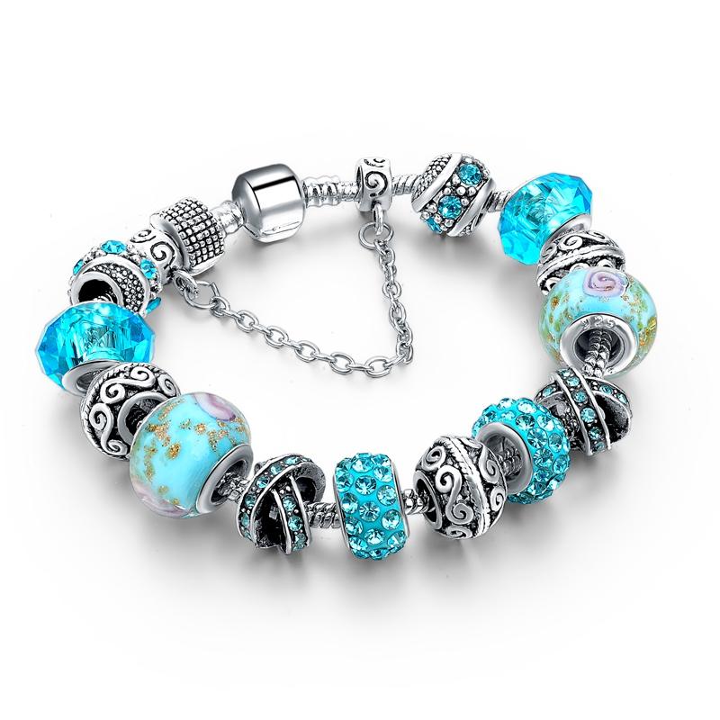 CHICVIE Black Crystal Chain Link Bracelets For Women Female Charm Custom Bracelets & Bangles DIY Silver Color Jewelry SBR160014 18