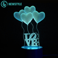 Colorful Love LED 3D Night Light Creative Ambient Light Desk Lamp 5W Home Lighting Color Change